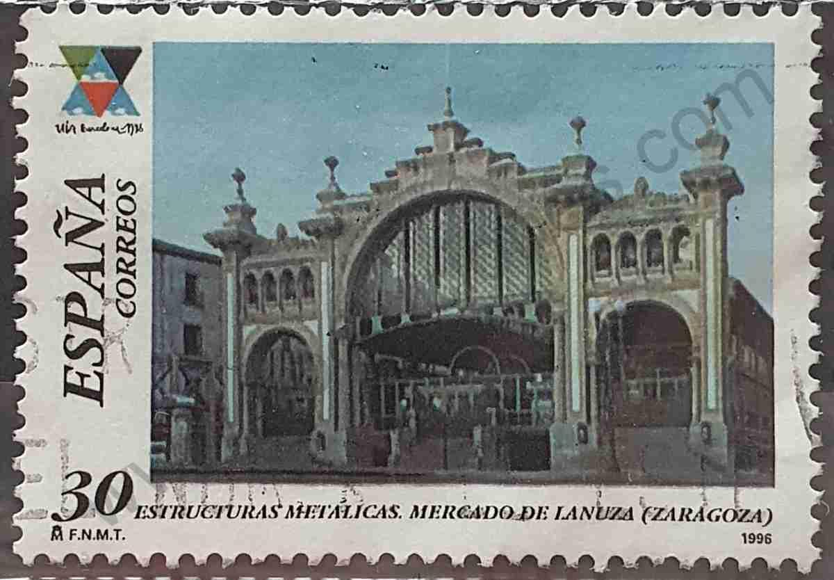 Sello Mercado Central Plaza de Lanuza - España 1996