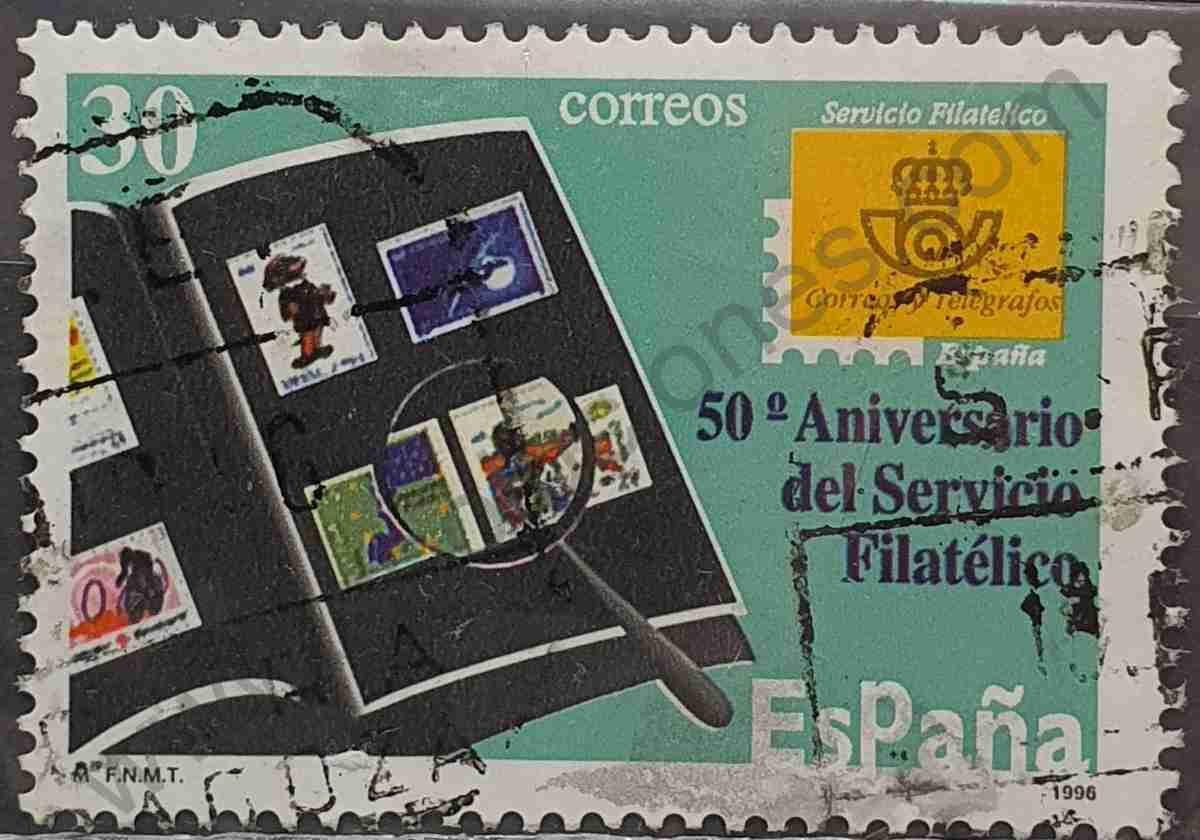 Sello 50 aniversario servicio filatélico - España 1996