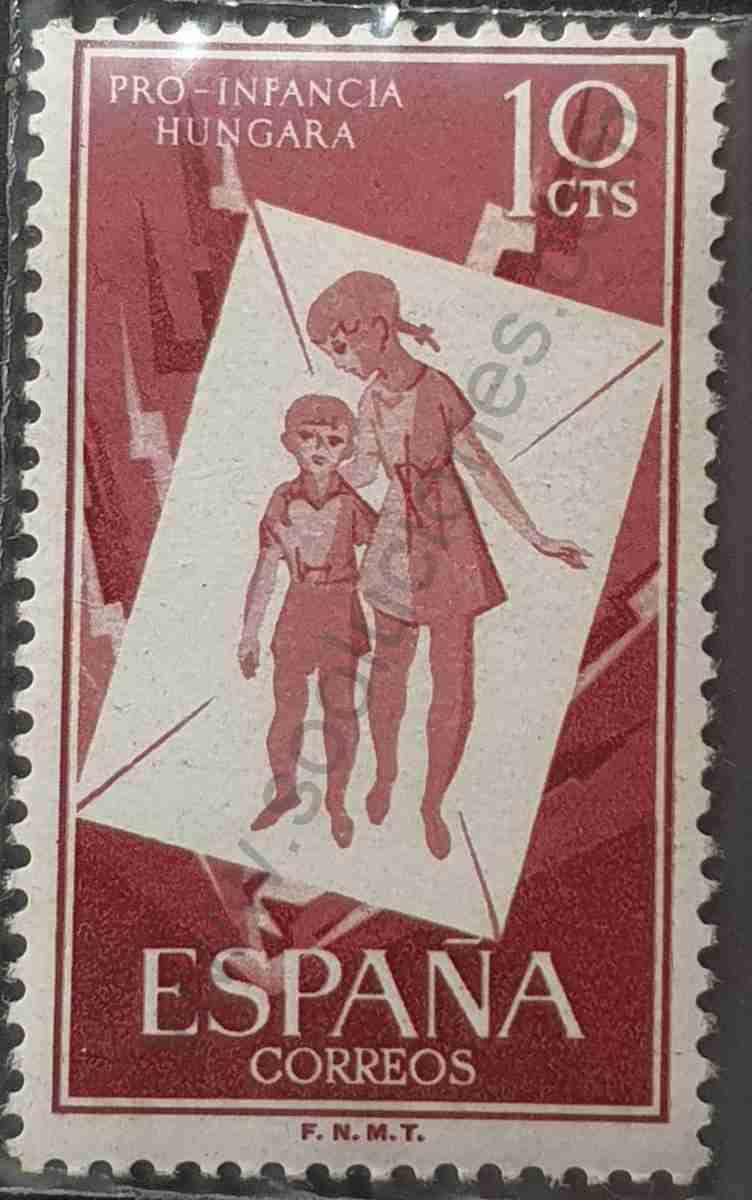 Sello pro-infancia húngara 10cts - España 1956
