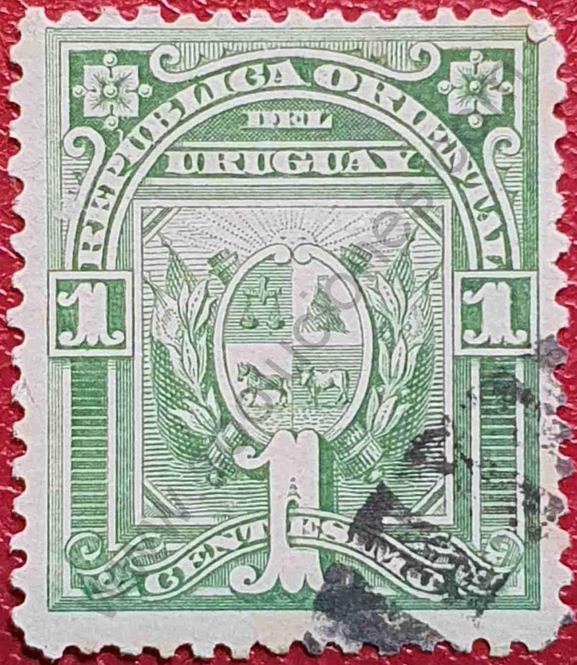 Escudo de armas 1c - Uruguay sello de 1890