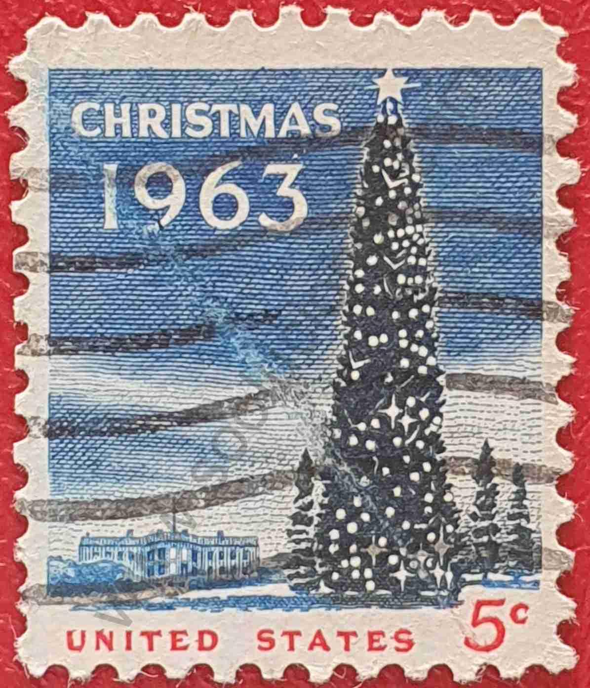 Pino de Navidad y Casa Blanca - Sello Estados Unidos 1963