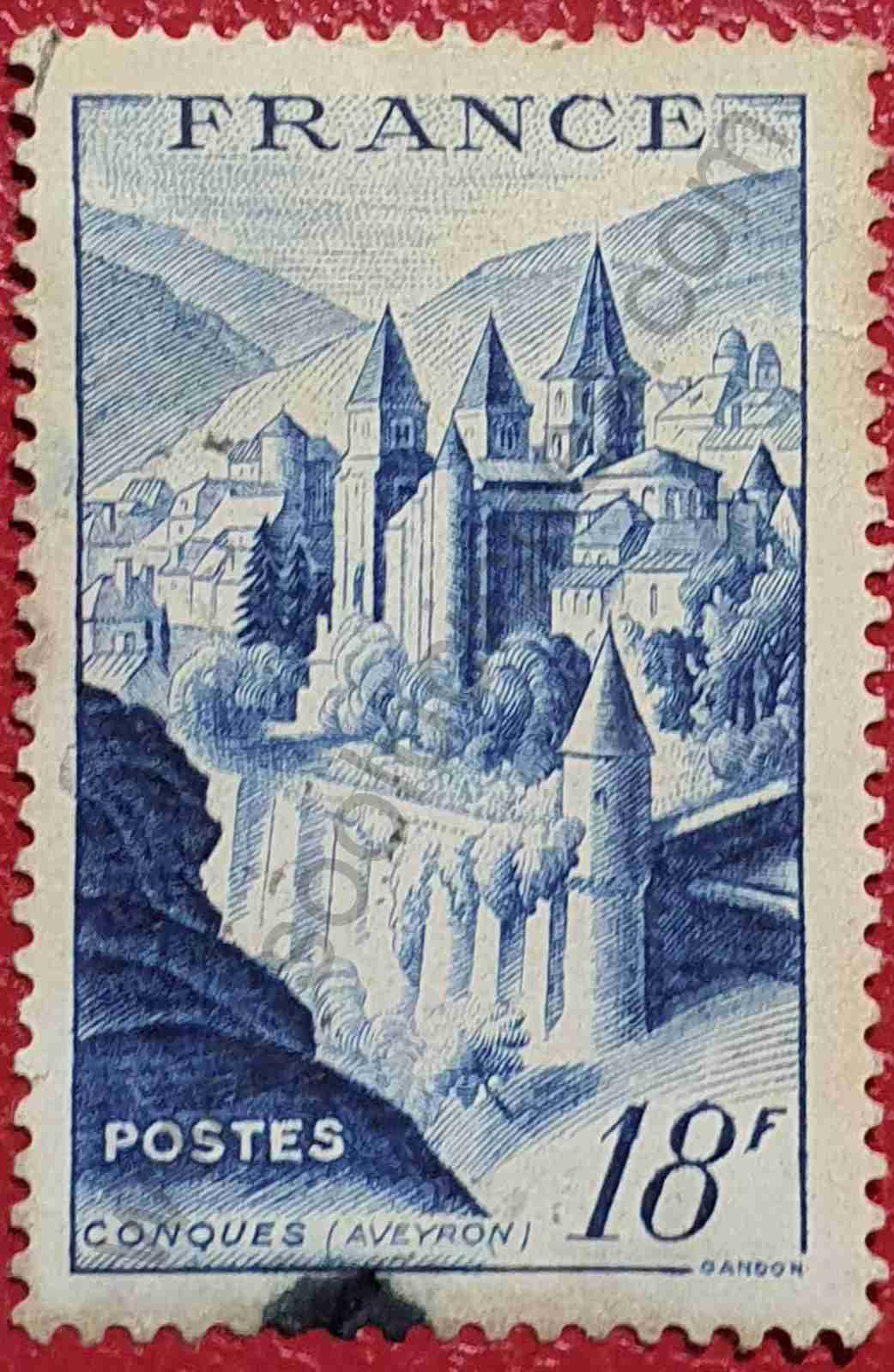 Abadía de Conques - Sello Francia 1948