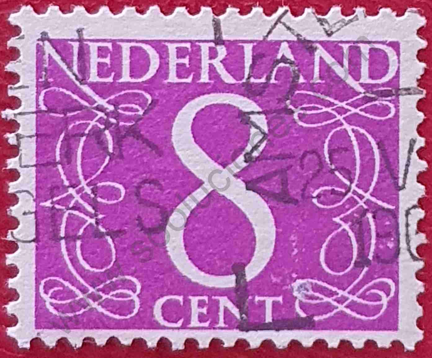 Número 8 - Sello Países Bajos año 1962