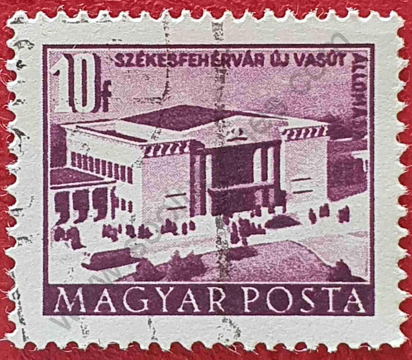 Estación de tren - Sello Hungría 1952