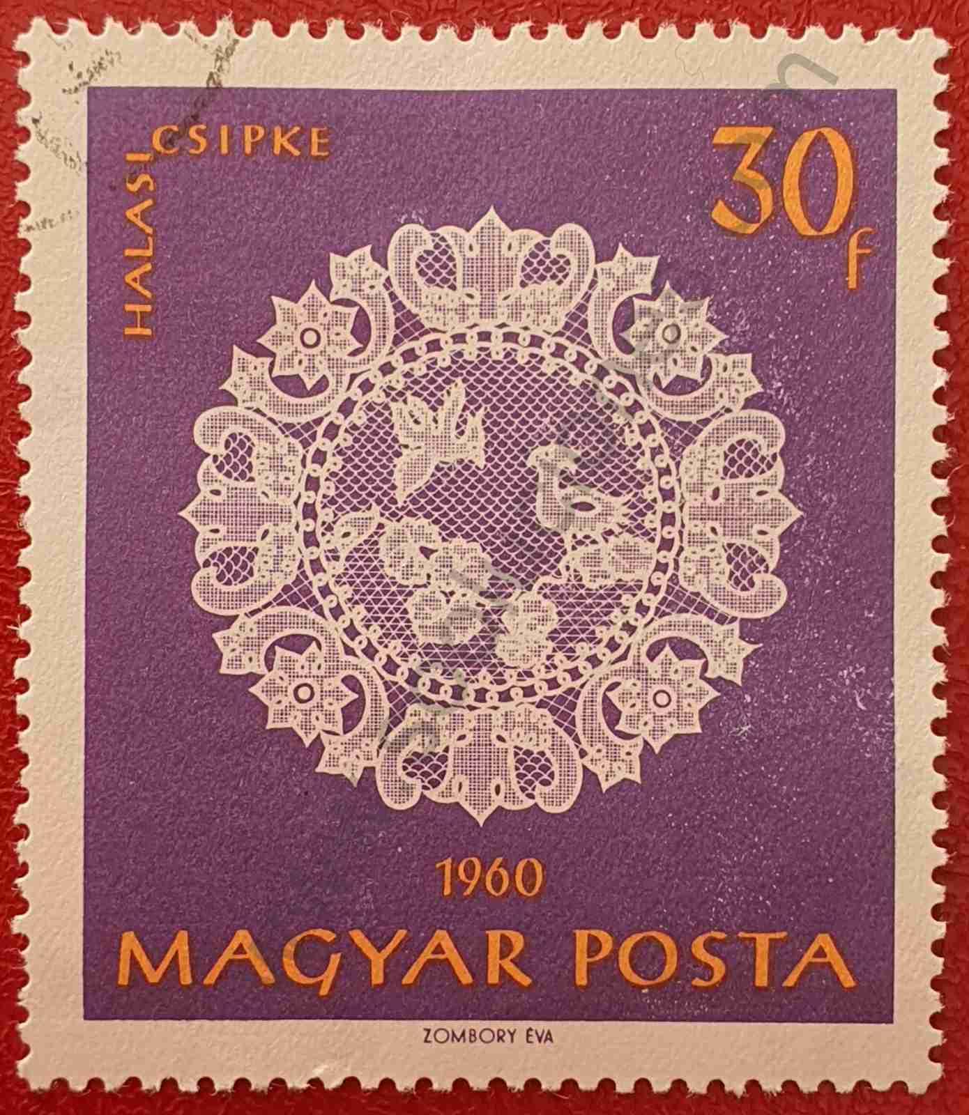 Bordado pájaros y flores - sello Hungría 1960