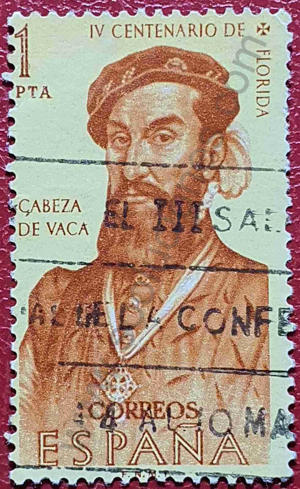 Álvar Núñez Cabeza de Vaca - Sello España 1960