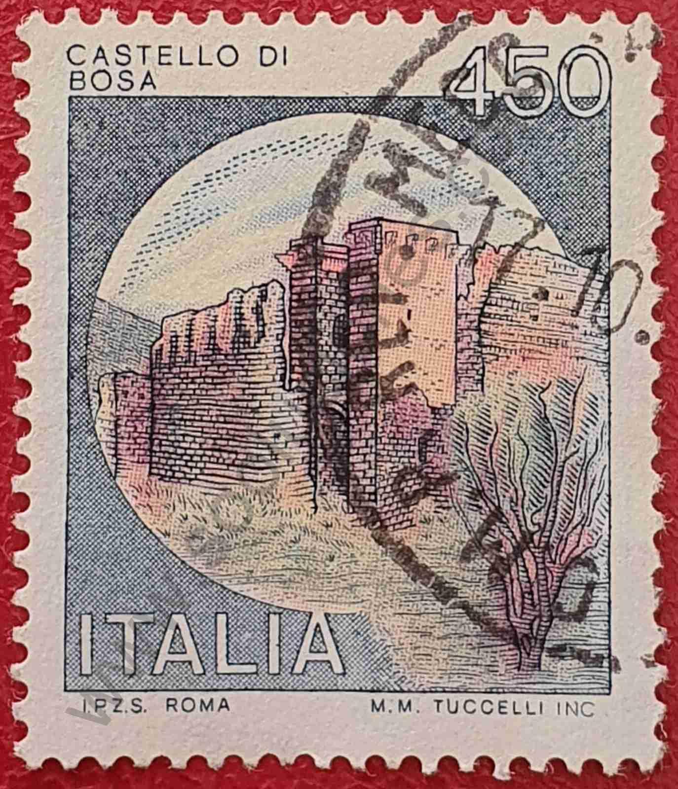 Castillo Bosa - Sello de Italia año 1980