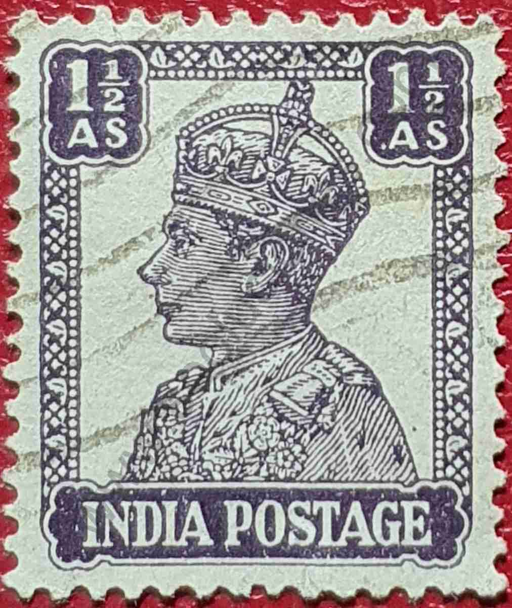 Sello India 1942 - Rey George VI 1 1/2 Anna