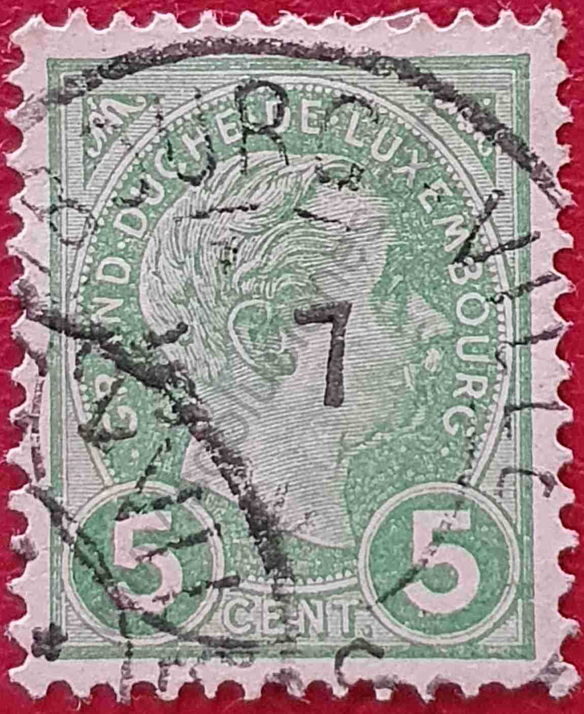 Sello Duque Adolfo 5c - Luxemburgo 1895