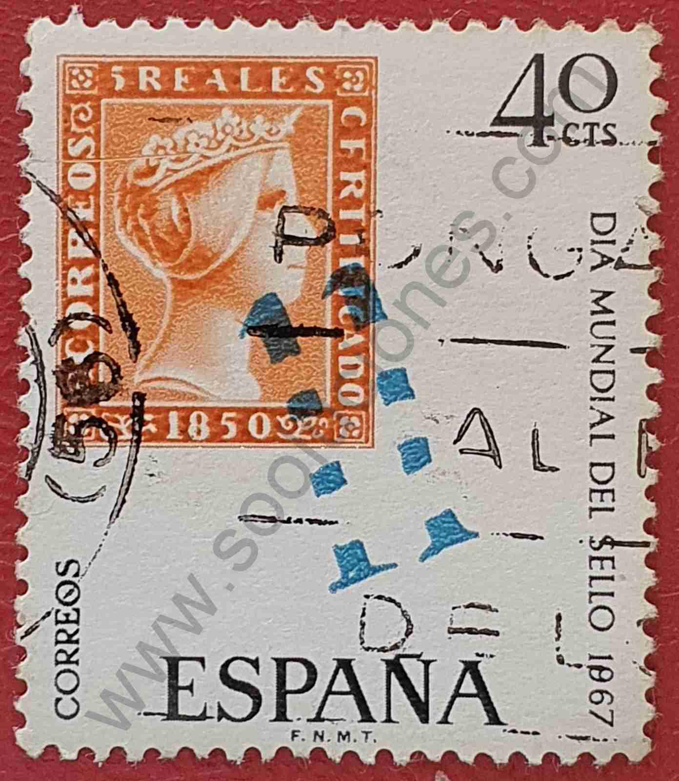 Sello con matasello Sevilla 11 - España 1967