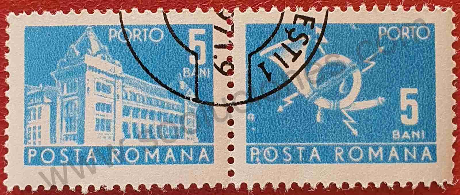 Oficina correos + Cuerno - Sello Rumania 1970