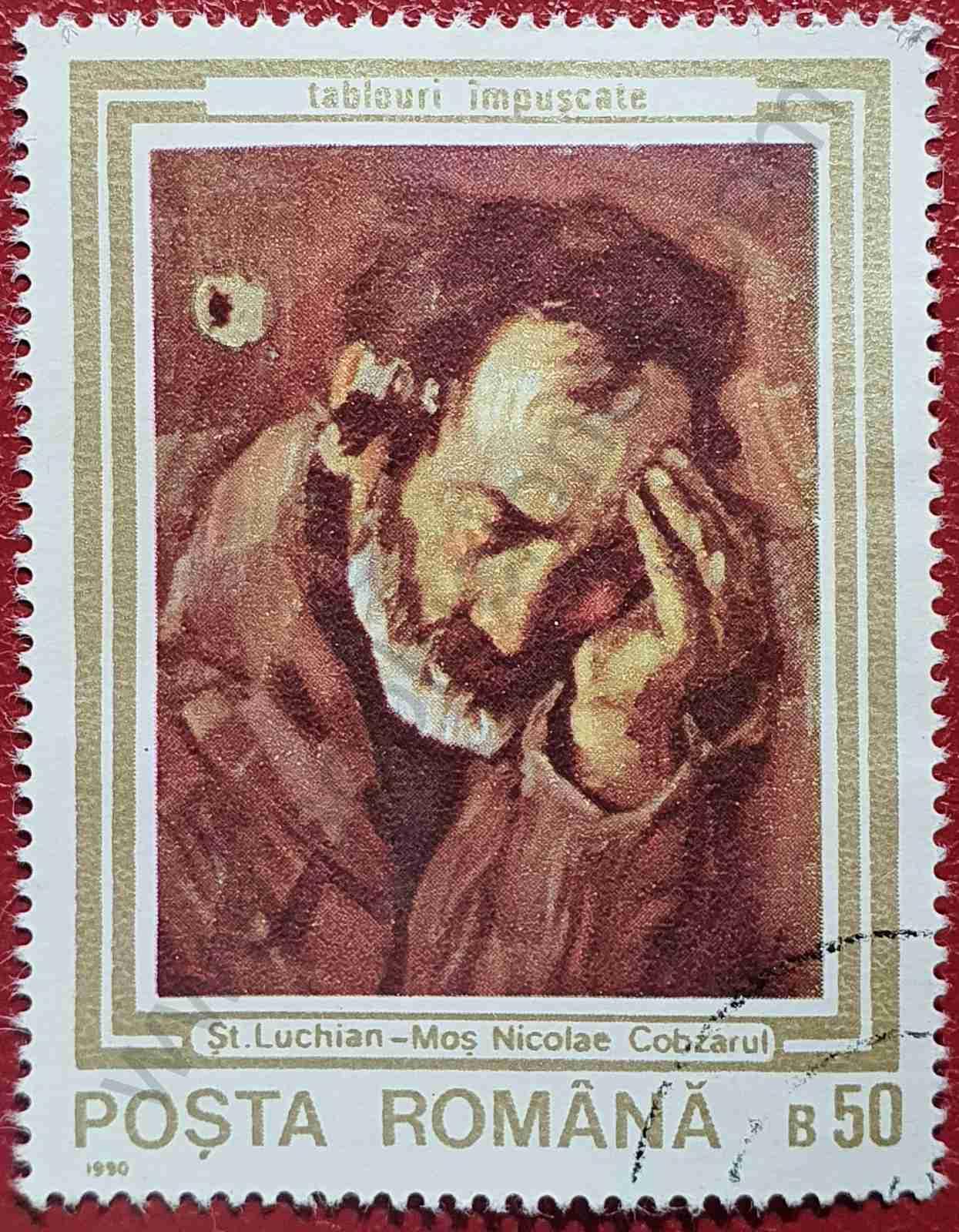 Sello Pintura El viejo Nicolás - Rumanía 1990