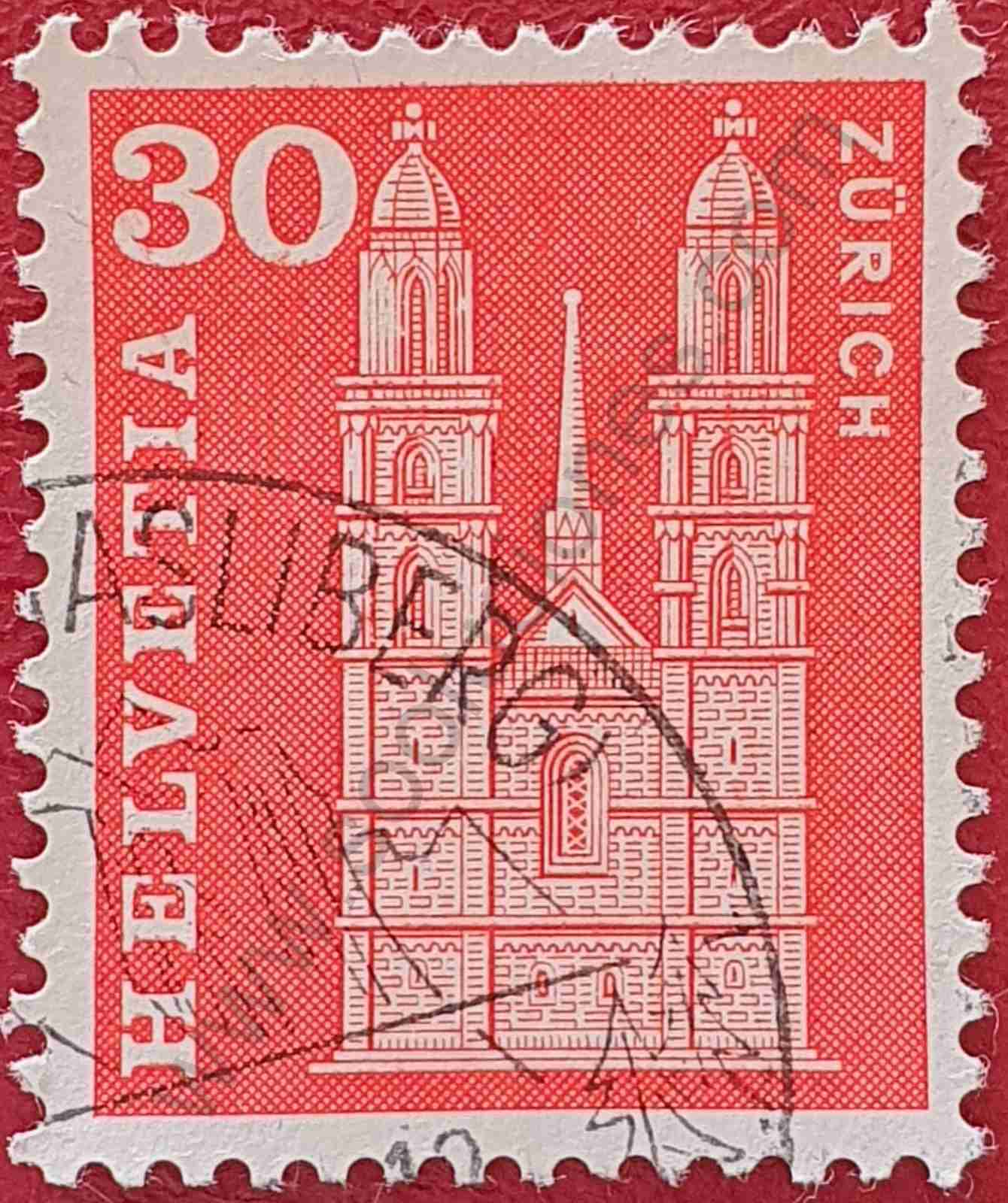 Sello Templo Grossmünster - Suiza 1963