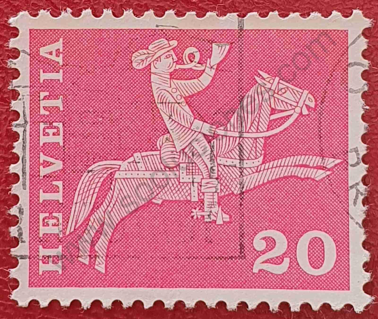 Sello jinete correos - Suiza 1960 variante
