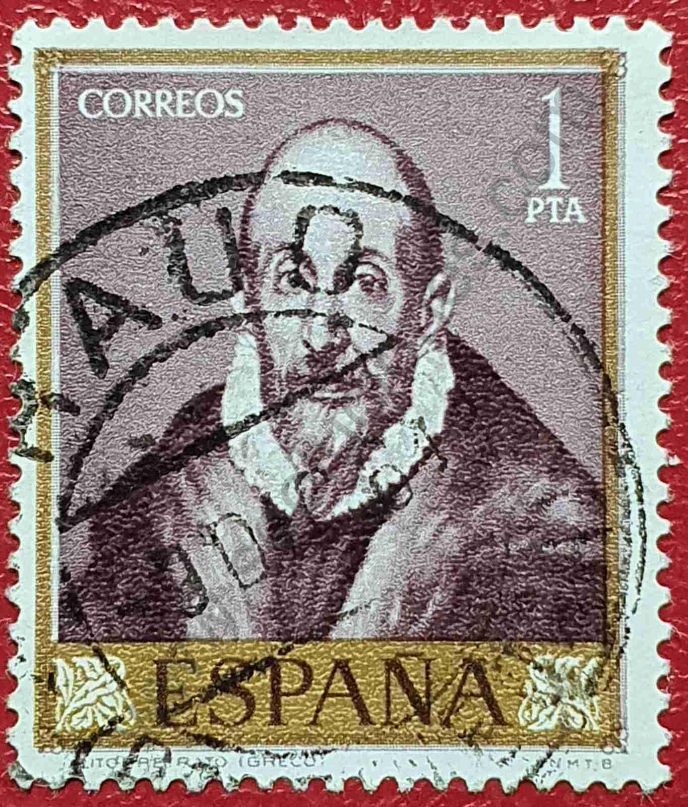 """Sello """"Autorretrato"""" El Greco - España 1961"""