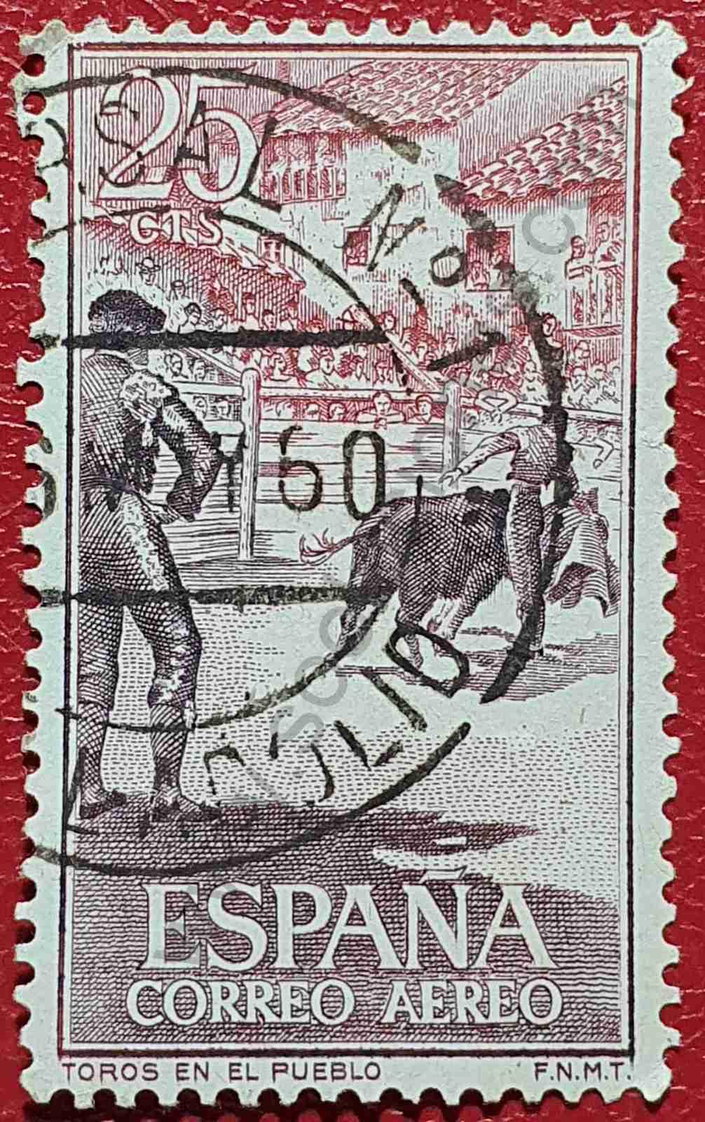 """Sello """"Toros en el pueblo"""" - España 1960"""