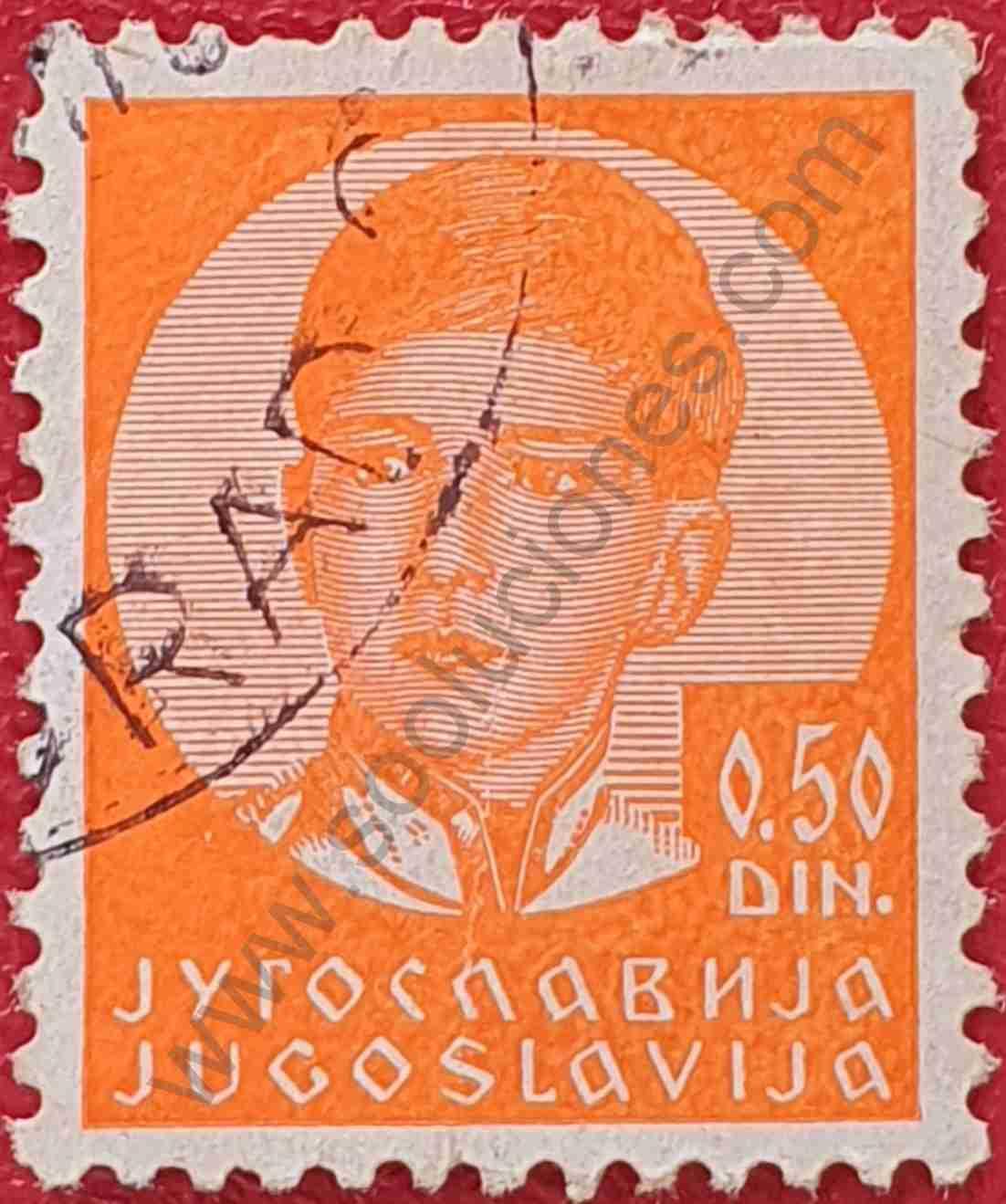 Sello Rey Pedro II - Yugoslavia 1935 0,50 din