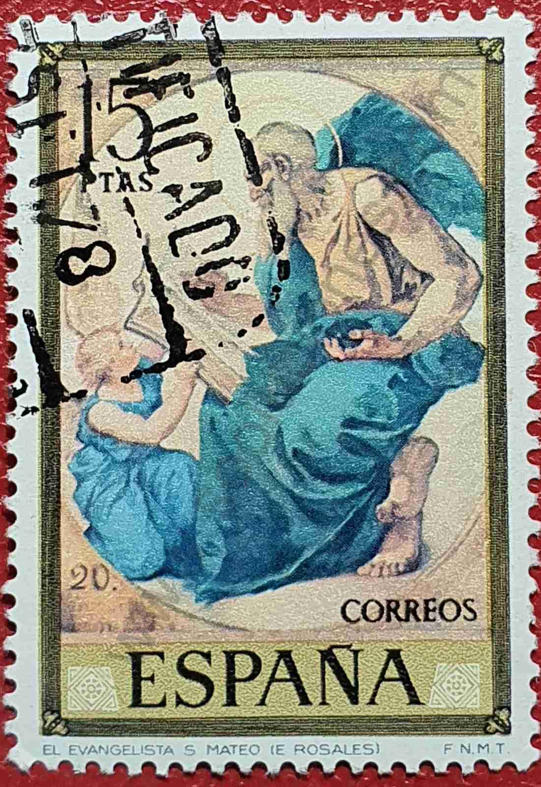 Pintura El evangelista San Mateo - Sello de España 1974