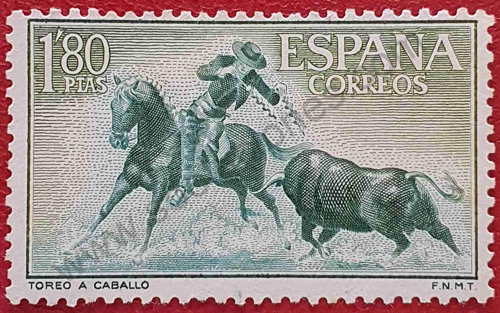 Sello Toreo a caballo - España 1960