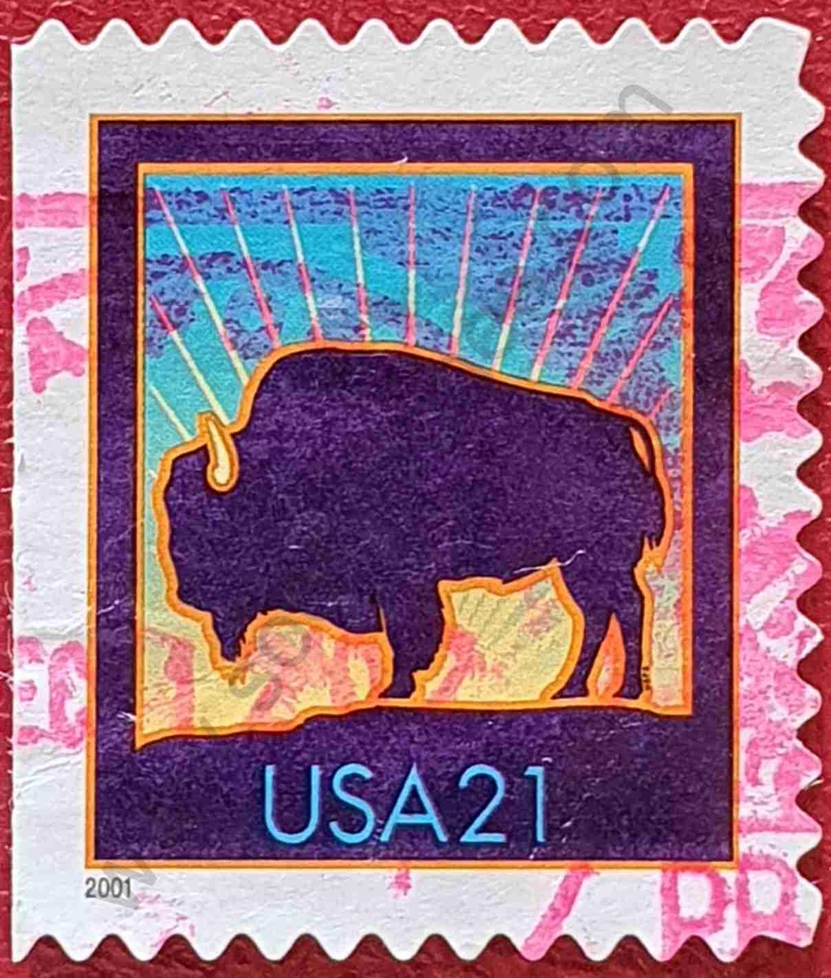 Bisonte - Sello Estados Unidos 2001 - 21c