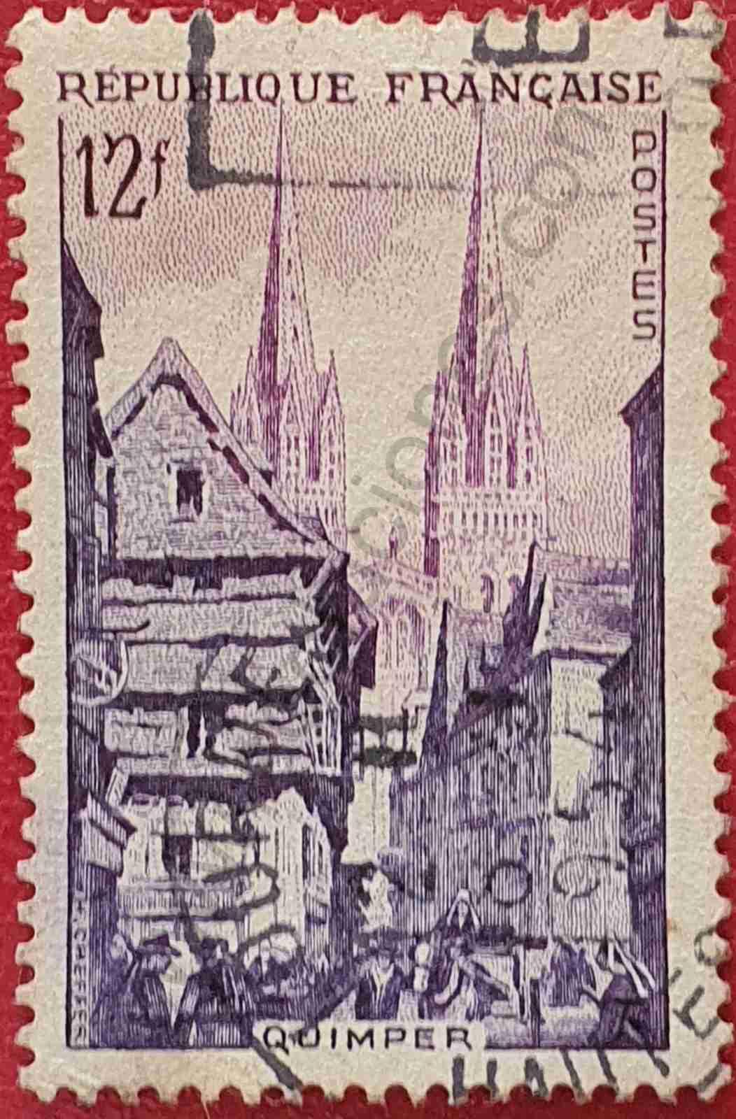 Quimper Francia - Sello de 1954