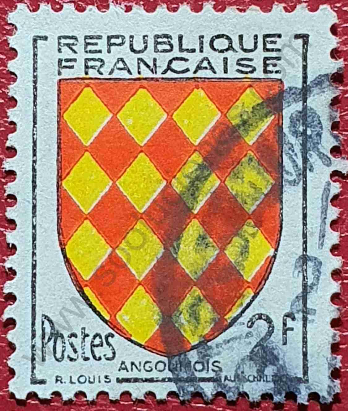 Escudo de Angoumois - Sello Francia 1954