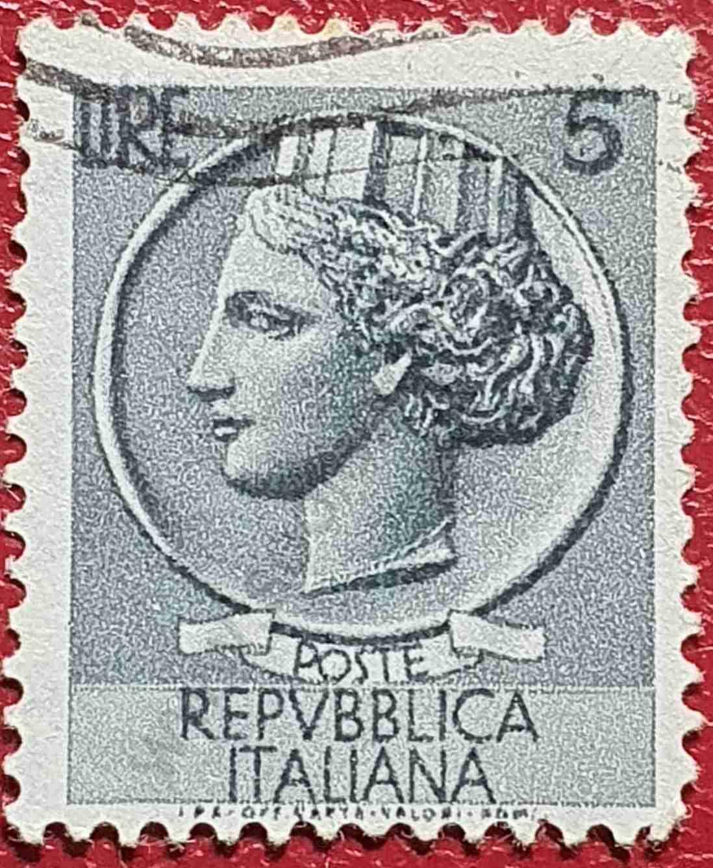 Moneda Siracusa - 5 Liras - Sello Italia 1955
