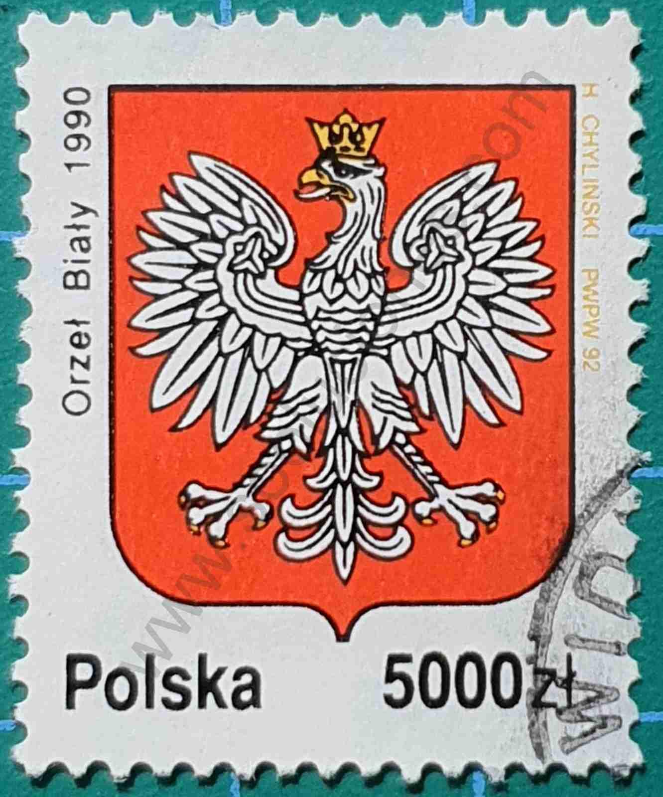Aguila blanca - Sello Polonia 1992