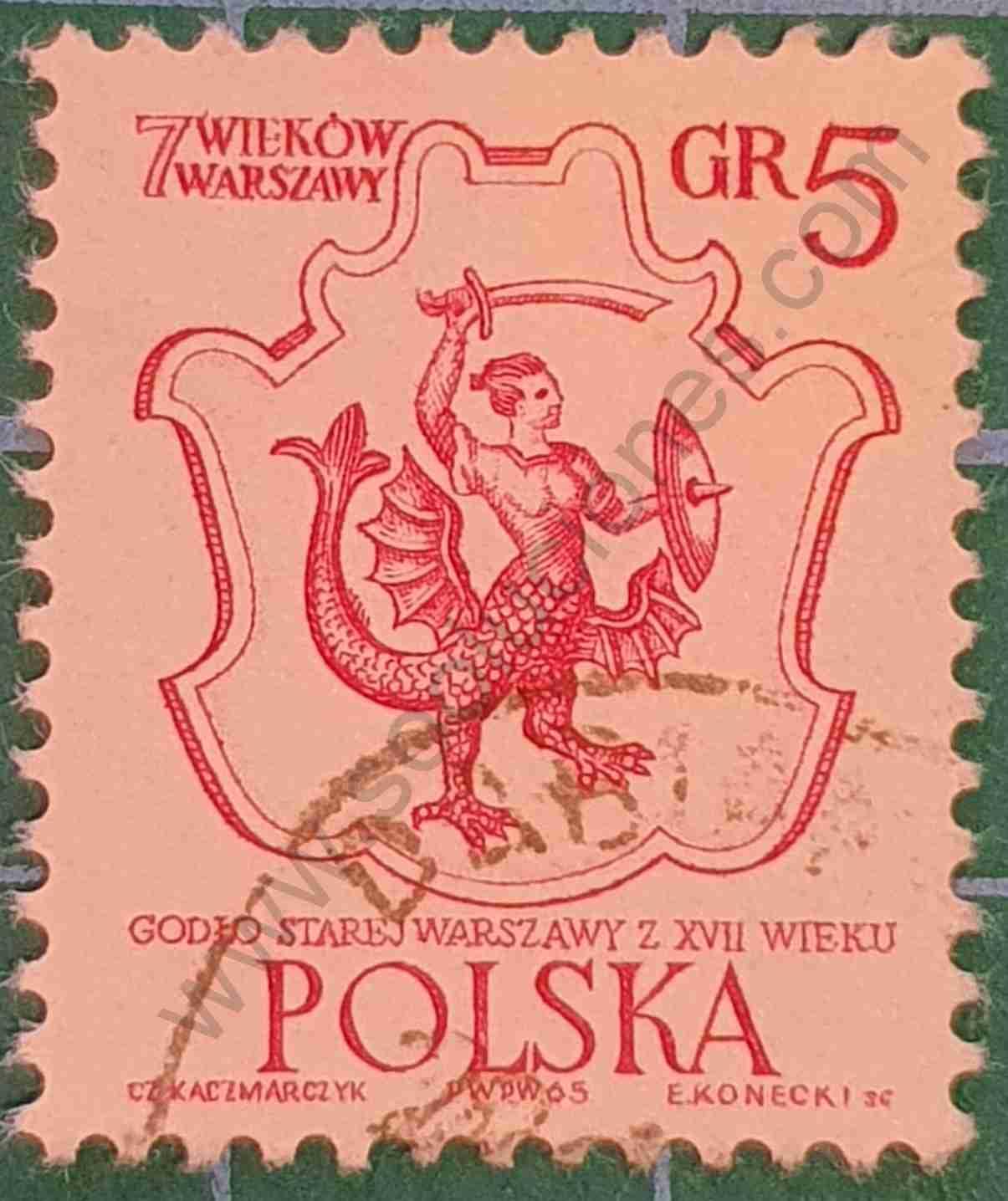 Escudo Varsovia - Sello Polonia 1965