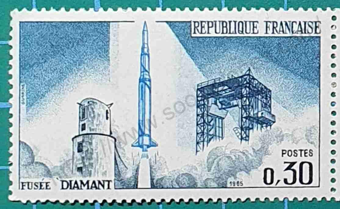 Satelite frances A-1 - Sello Francia 1965