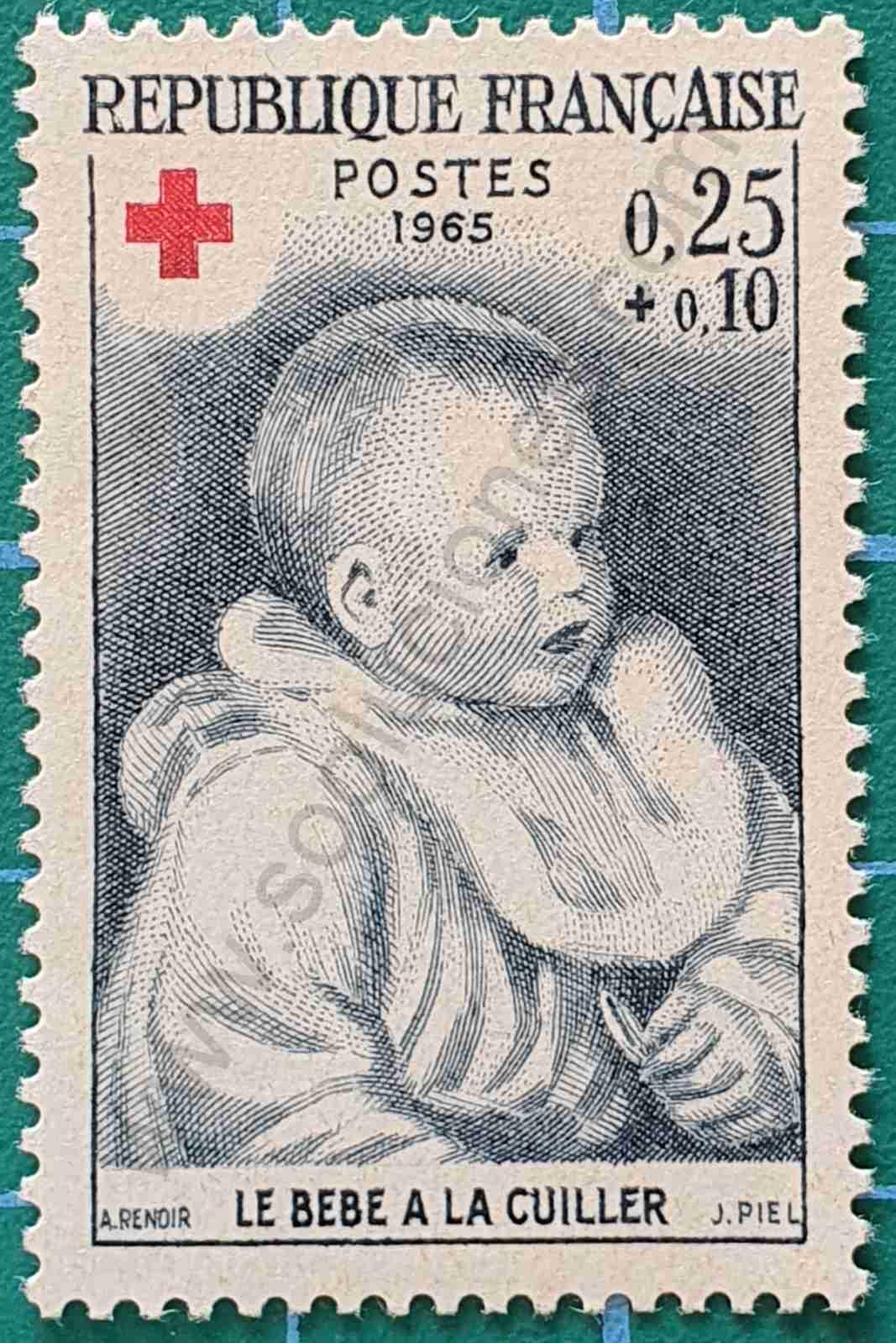 Bebé con cuchara - Sello Francia 1965