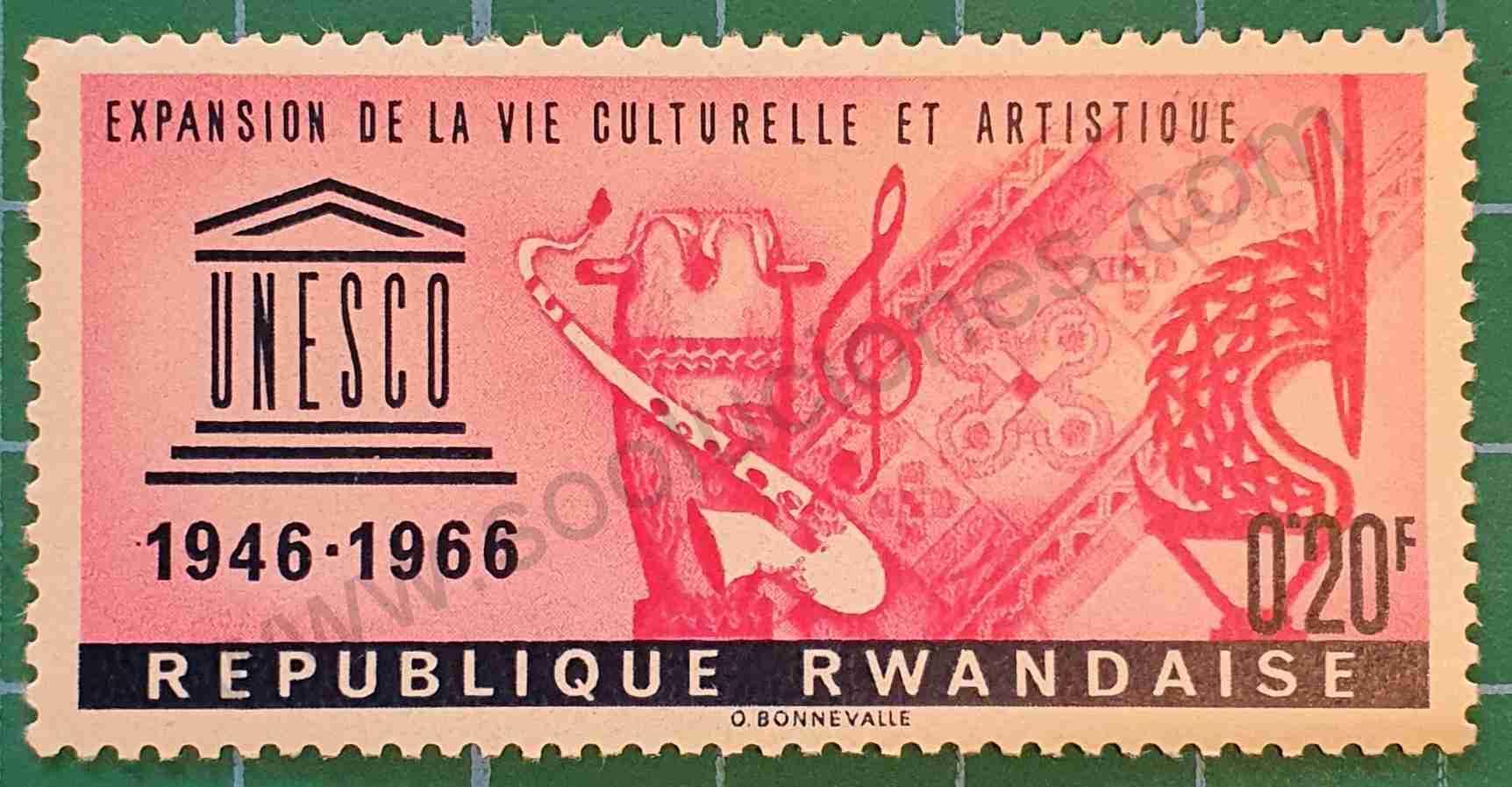 Aniversario UNESCO - Sello Ruanda 1966