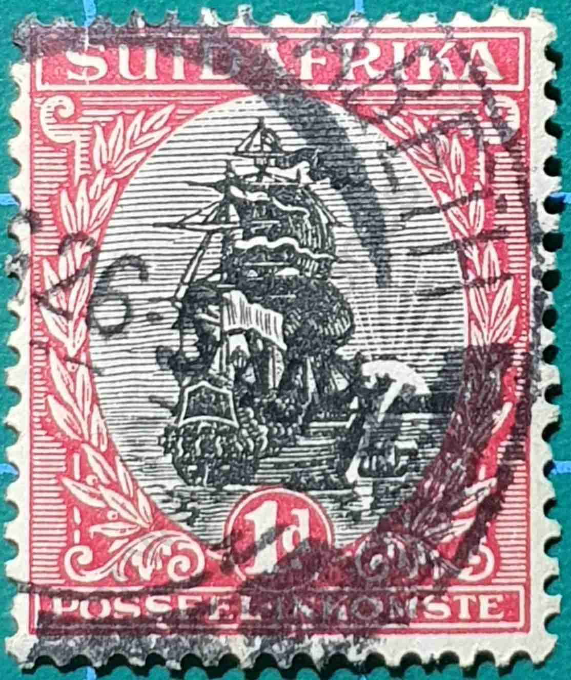 Barco de Van Riebeeck - Sello Sudáfrica 1927