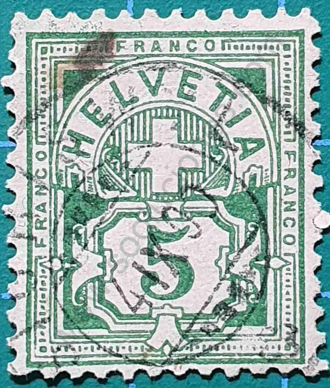 Cruz sobre placa de valor - Sello Suiza 1906