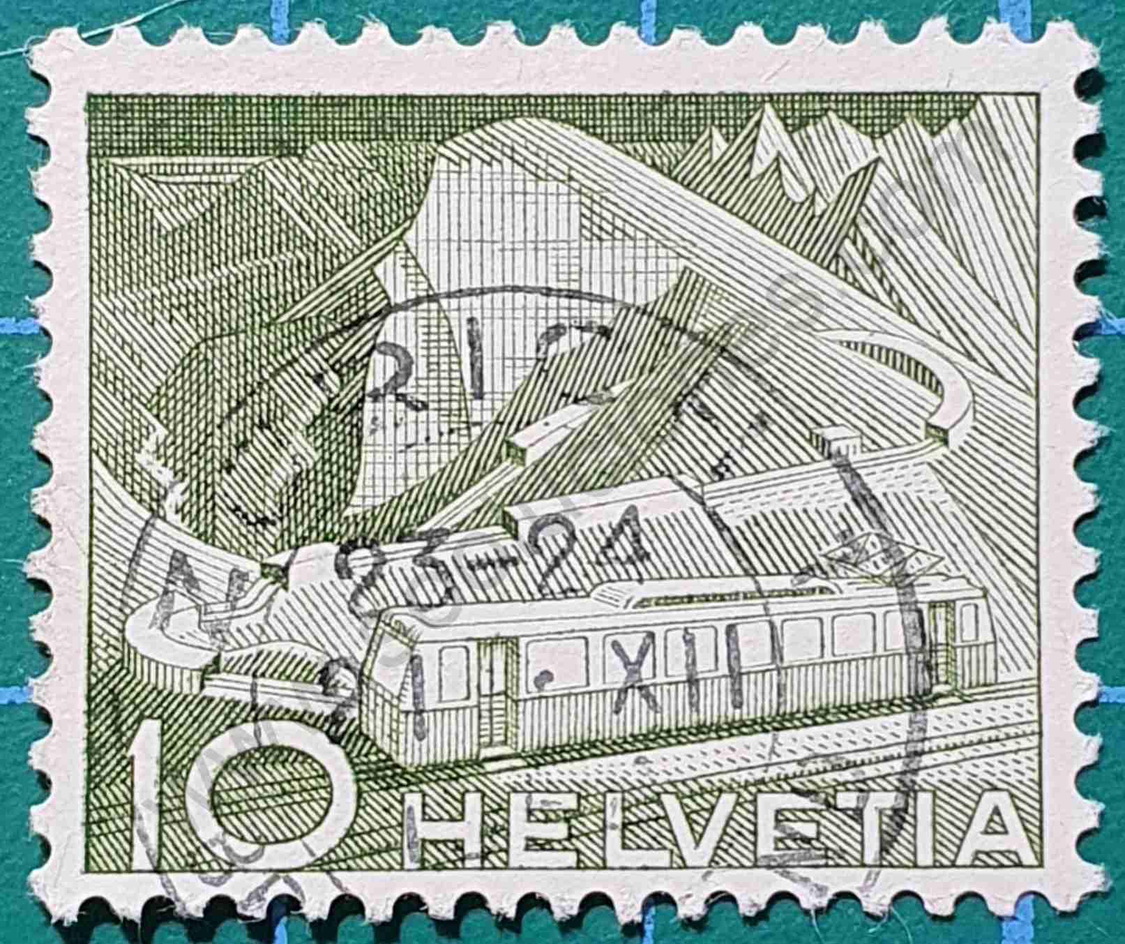 Ferrocarril de montaña - Sello Suiza 1949