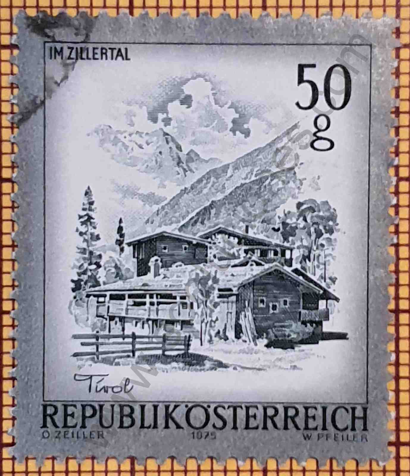 Ciudad de Mayrhofen en Austria - Sello de 1975