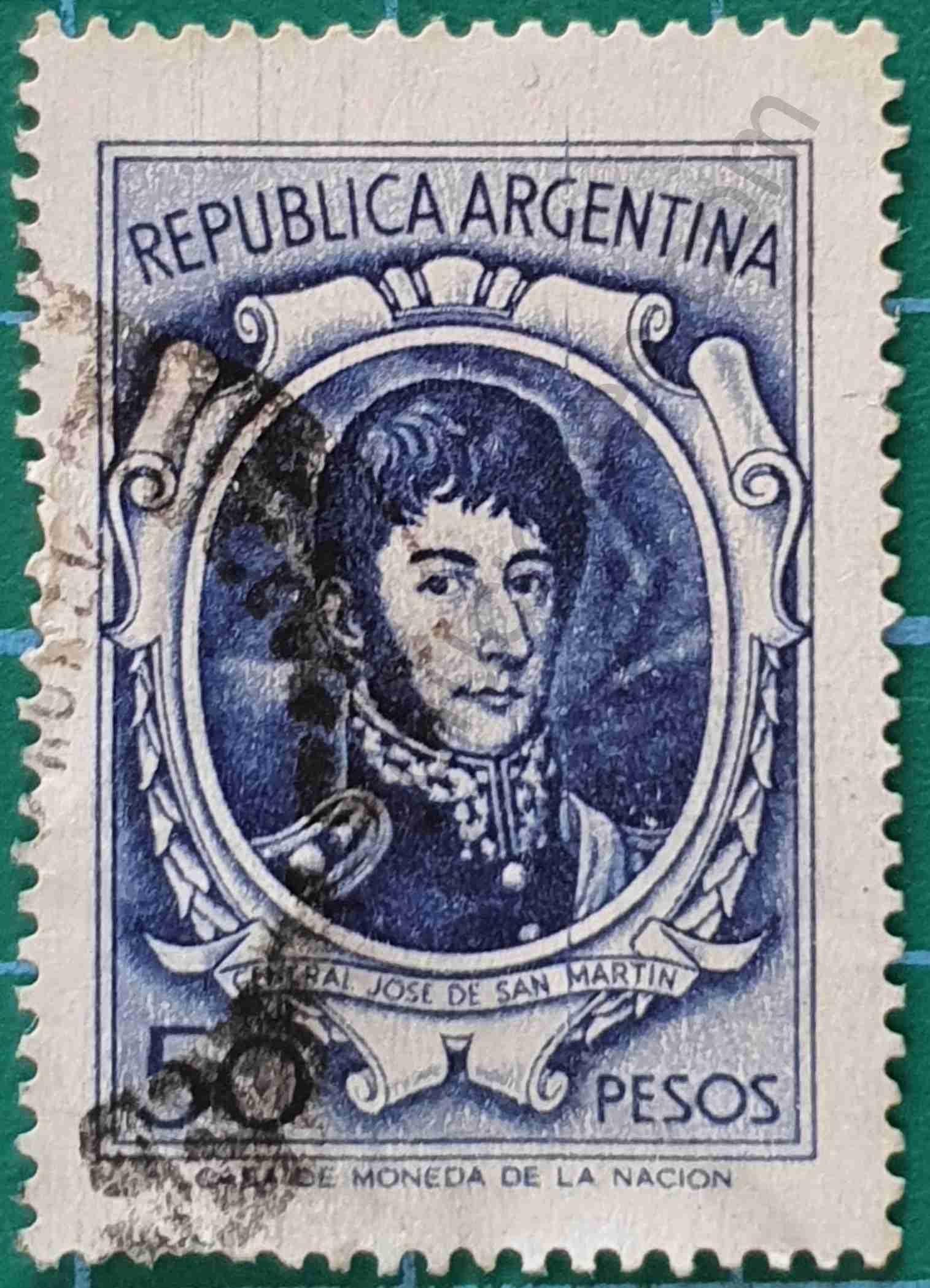 José de San Martín 50 m$n - Sello Argentina 1969