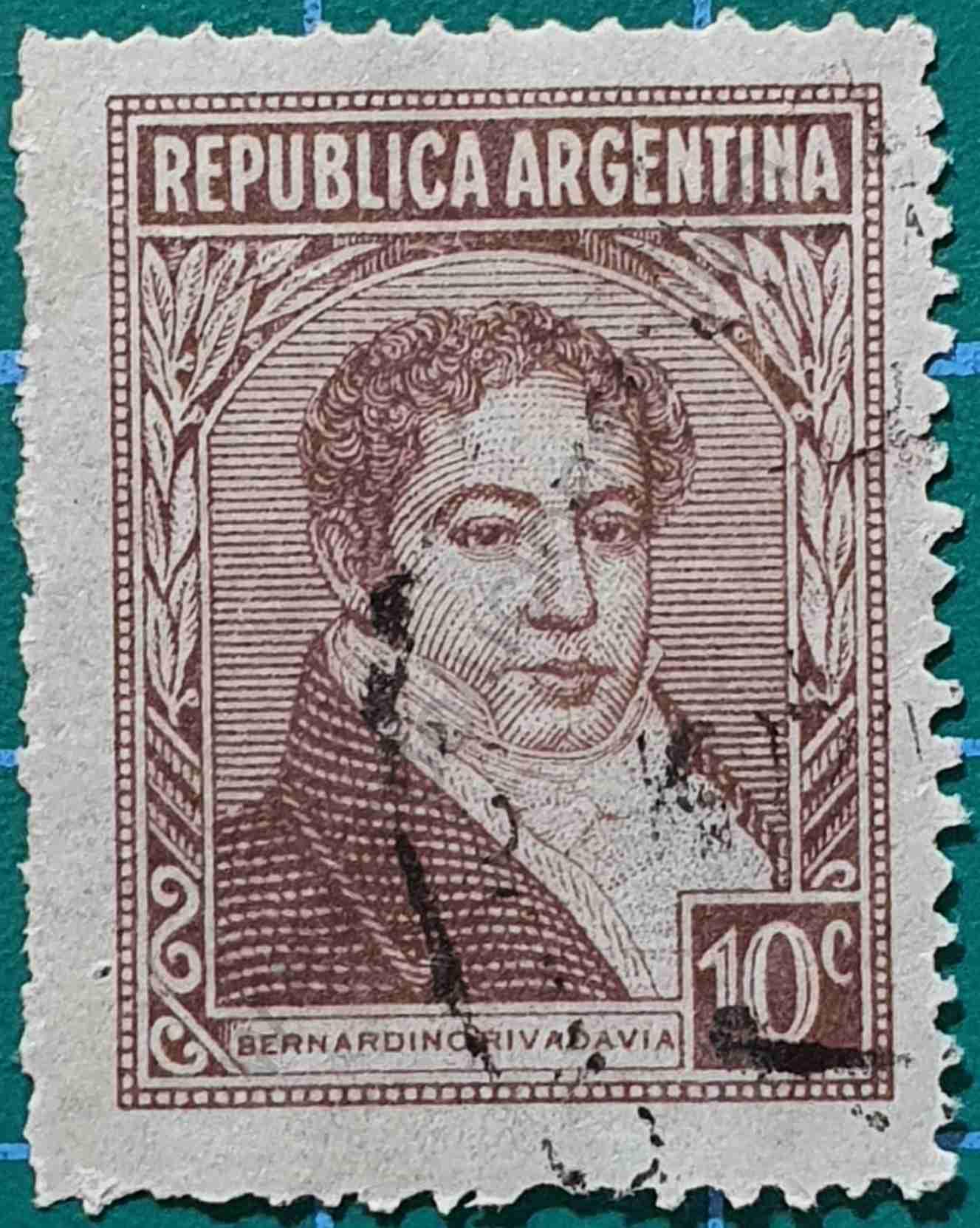 Bernardino Rivadavia - Sello Argentina 1949