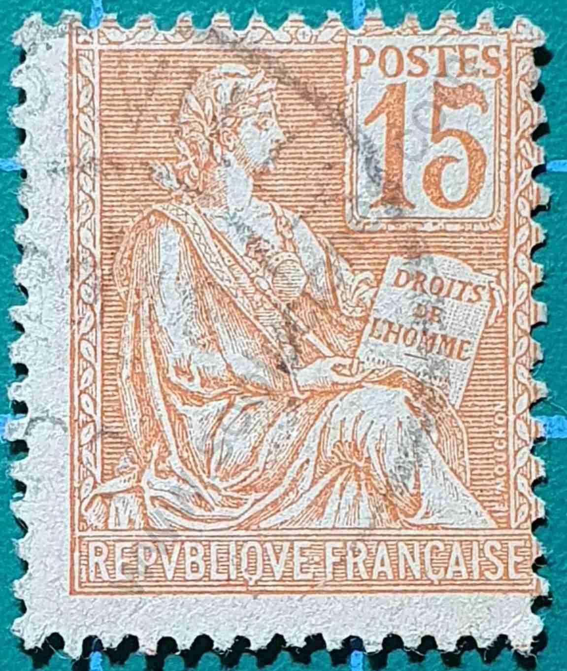 Diosa Mouchon 15c - Sello Francia 1900