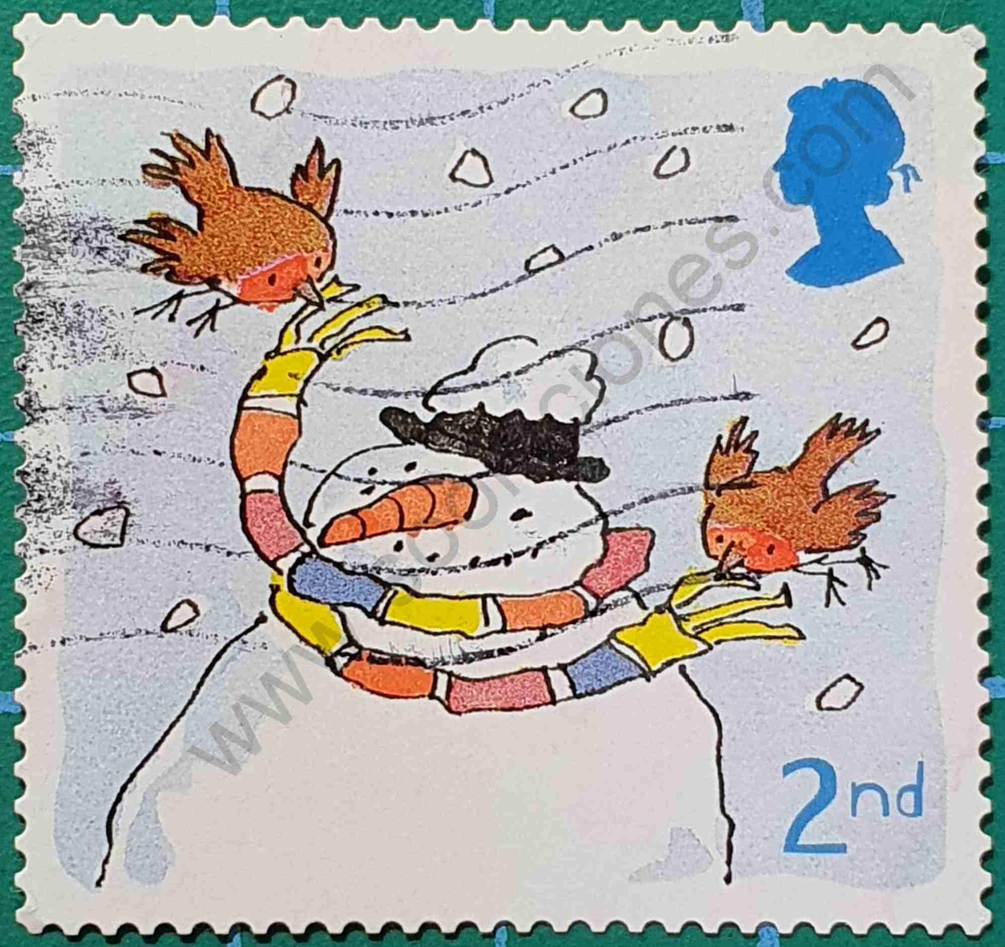 Muñeco de Nieve y Petirrojos - Sello Reino Unido 2001