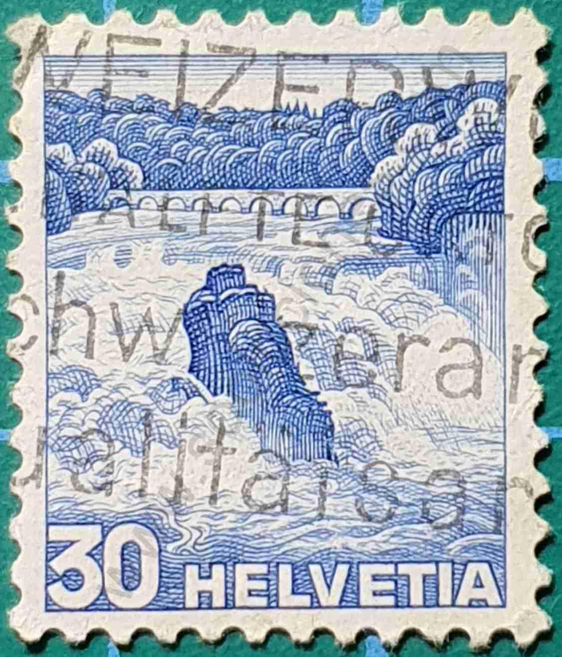 Cataratas del Rin - Sello Suiza 1936
