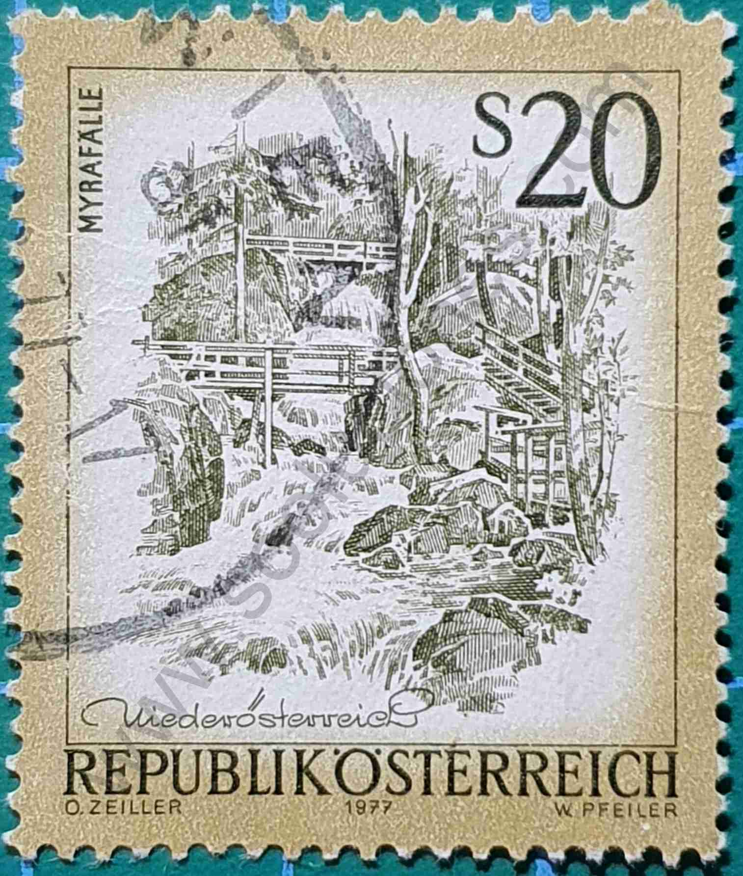 Cascadas de Myra - Sello Austria 1977