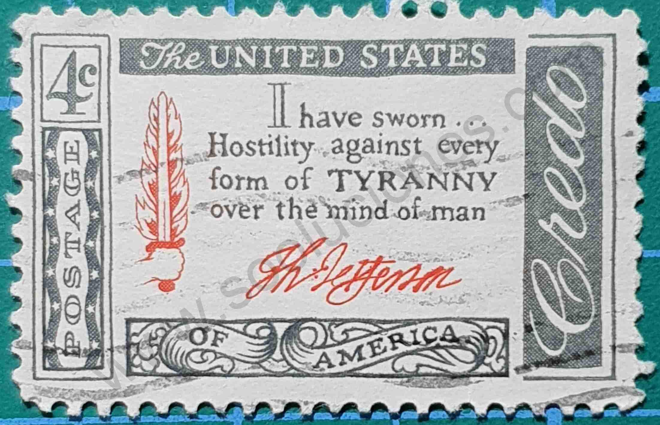 Cita de Thomas Jefferson - Sello Estados Unidos 1960