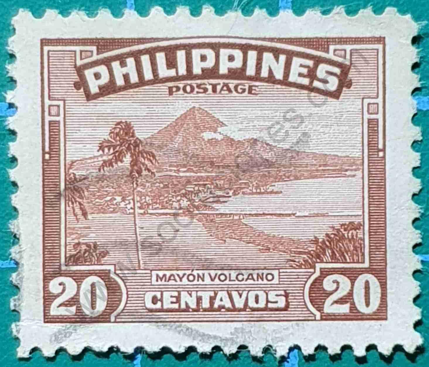 Mayon Volcano - Sello Filipinas 1947