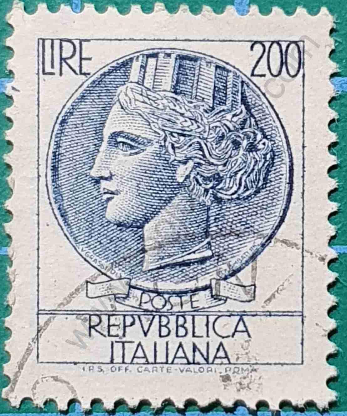 Sello Moneda Siracusa 200 Liras - Italia 1968