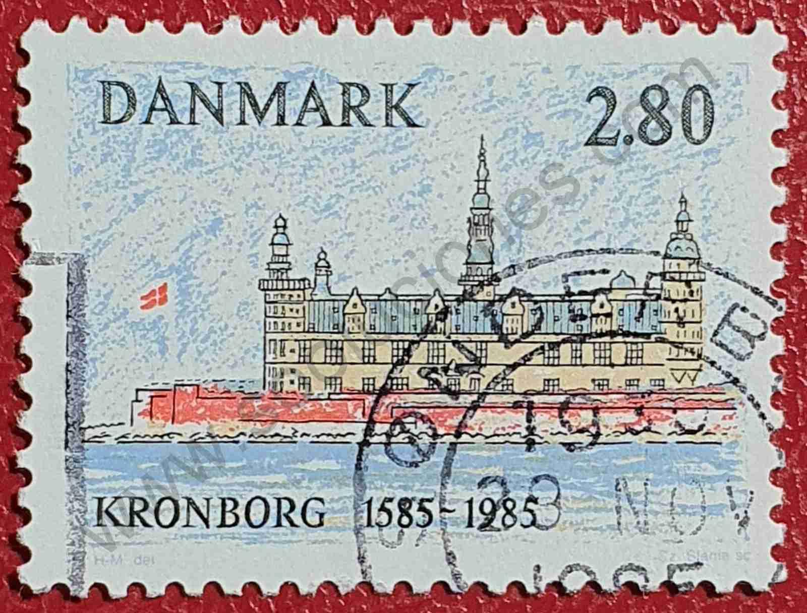 Castillo Kronborg - Sello de Dinamarca año 1985