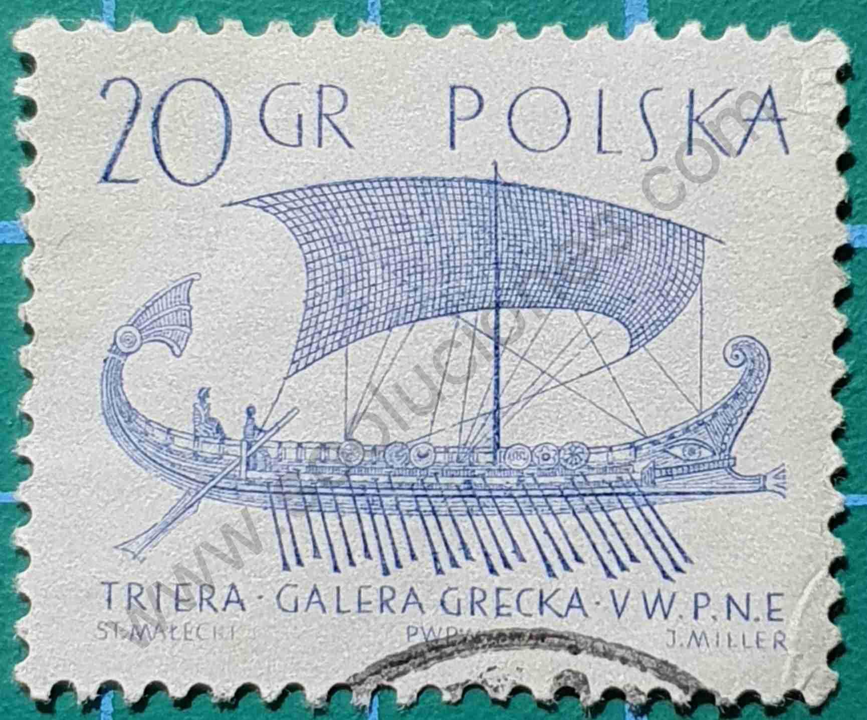 Trirreme Griego - Sello Polonia 1963