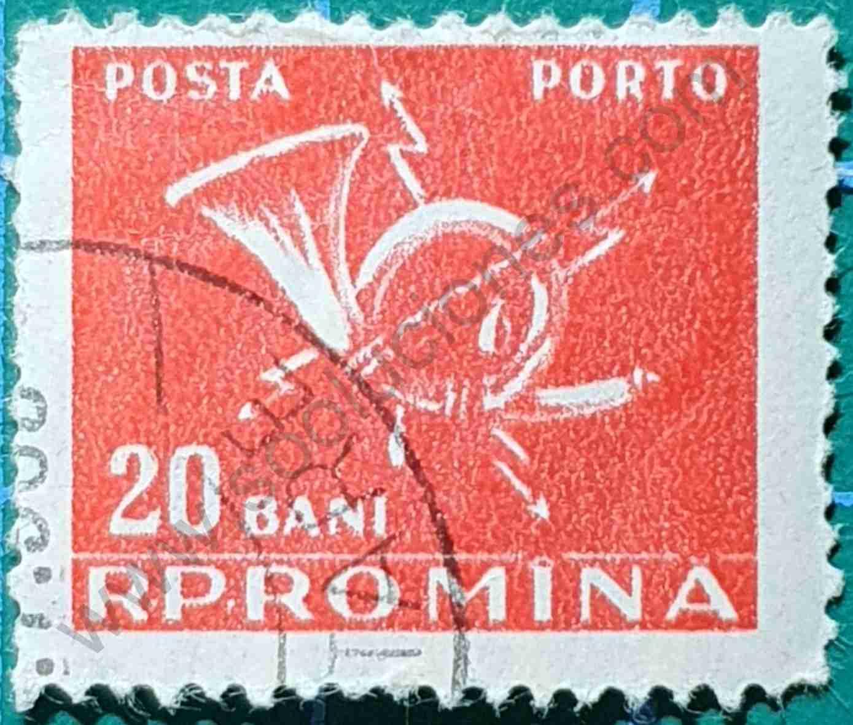 Cuerno correos 20 Ban - Sello Rumania 1957