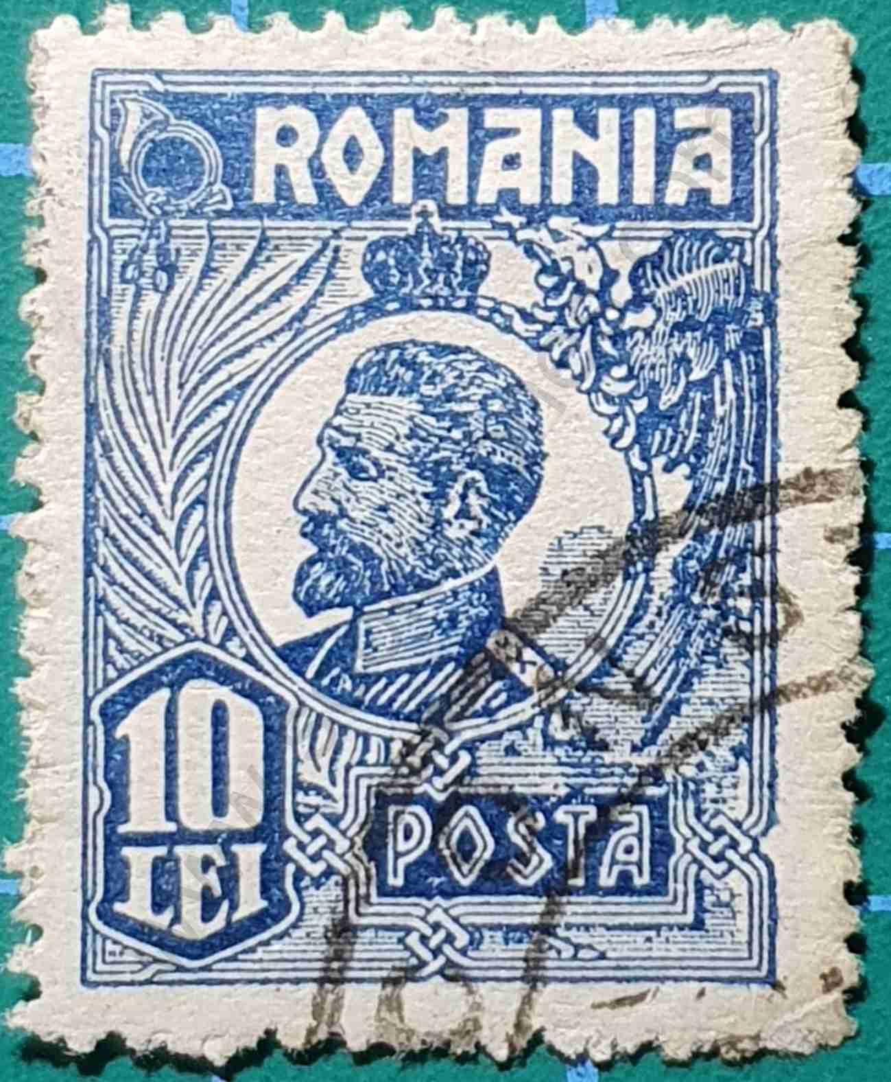 Rey Ferdinand 10 Lei - Sello Rumania 1923