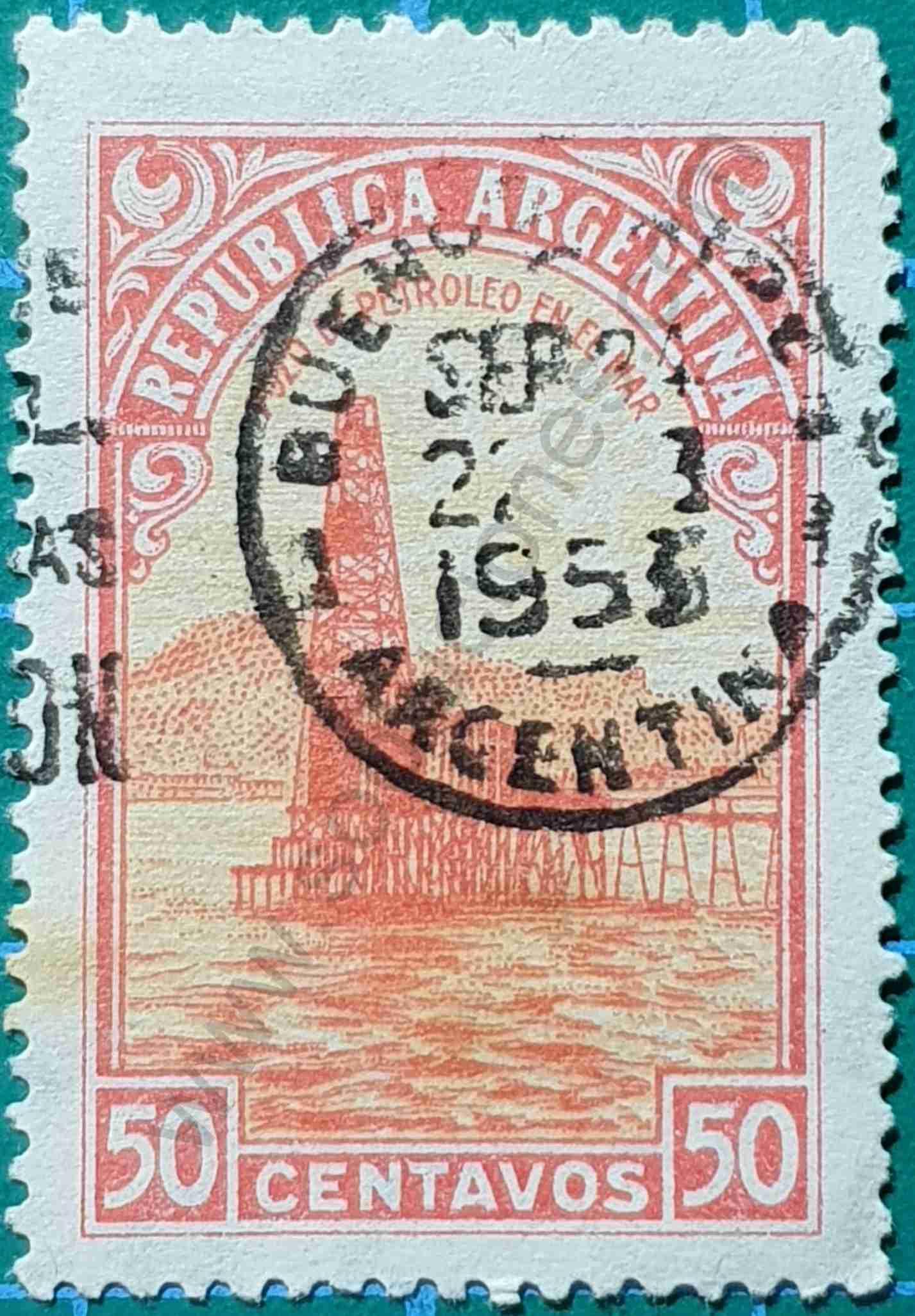Pozo de petróleo en el mar - Sello Argentina 1952